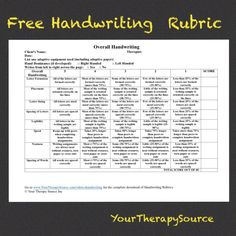 Free Handwriting Rubric from www.YourTherapySource.com