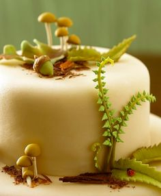 what an adorable cake with mushrooms, acorns, fern and even a ladybug. Love this!