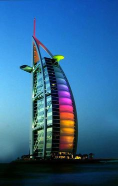 """The Burj Al Arab is one of the major tourist spots in the middle east. It is a very exquisite hotel in Dubai, U. It is also known as, """"The Sailboat of Dubai."""" This is picture of the hotel at night, as it lights up the sky. Hotel A Dubai, Dubai City, Dubai Uae, Dubai Trip, Visit Dubai, Burj Al Arab, Beautiful Hotels, Beautiful Places, Wonderful Places"""