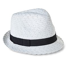 Women's Solid Fedora with Contrast Bow Sash - White
