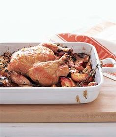 Roast Chicken With Balsamic Peaches | RealSimple.com