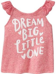 "So true, so love. ""Dream Big"" Flutter-Sleeve Tees for Baby"