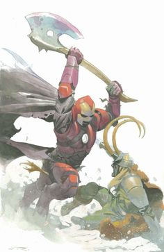 This one's pretty epic. Medieval Iron Man Vs Loki by Esad Ribic Comic Book Artists, Comic Book Characters, Comic Book Heroes, Marvel Characters, Comic Artist, Comic Character, Comic Books Art, Character Design, Marvel Comics Art