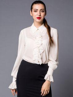 Elegant Silk Plain Frill Sleeve Two Piece Blouse