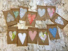 Burlap Heart Banner, Burlap Flags, 6 Foot Burlap Garland, Heart Pennant, Wedding Banner, Burlap Heart Garland Brand New item on Etsy, £13.75