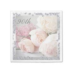 Romantic Roses & Diamonds 90th Birthday Serviettes