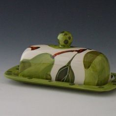 Butter Dish  Pear Butter Dish White   Colorful by romyandclare, $48.00