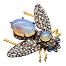 MOONSTONE BUG BROOCH