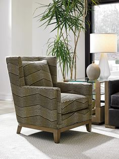 Contemporary wing back chair featuring a geometric fabric.  #accentchair #customupholstery