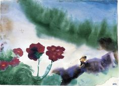 Poppy on mountain landscape(Switzerland) - Emil Nolde 1930 Expressionism Watercolour (Photo: Foundation Seebüll Ada and Emil Nolde) Emil Nolde, Watercolor Landscape, Watercolor And Ink, Watercolor Paintings, Flower Paintings, Watercolours, Edvard Munch, Vincent Van Gogh, Karl Schmidt Rottluff