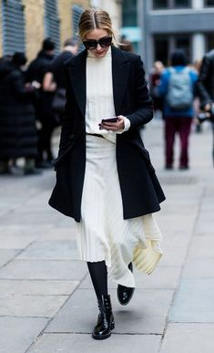 White Sweater dress + Black coat #winterfashion #winteroutfits #ootd #outfits #coats