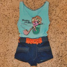 """Two sweet little vintage renewed pieces just hit new arrivals! One of a kind leather and denim 70's shorts and a 1986 """"Naughty and Nice"""" perfectly fitted bodysuit  Get 'em on www.shopbackbite.com"""