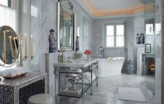 Beautiful Carrara marble bath in the Glenmere Mansion (c. 1911)   Scott Snyder   Architectural Digest, photo by Kim Sargent...