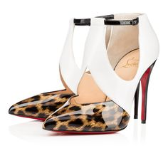 """""""Dictata"""" possesses that special something that keeps you coming back for more.  Her alluring leopard patent leather pointed toe is accentuated by a v-shaped vamp that rises over the arch of the foot in white jazz calf creating sexy cutouts at the sides and on top.  Drawn together with a fine black patent leather ankle strap and delicate buckle, this chic 100mm style brings a feminine and ultra modern."""