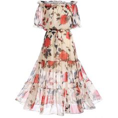 Off Shoulder Floral Hollow Out Ruffled Hem Maxi Dress (386.150 IDR) ❤ liked on Polyvore featuring dresses, vestidos, off-shoulder ruffle dresses, off-shoulder dresses, pink maxi dress, pink floral dress and off the shoulder maxi dress