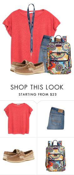 """Second day of school is a go! Wish me luck!"" by flroasburn ❤ liked on Polyvore featuring MANGO, Abercrombie & Fitch, Sperry and Vera Bradley"