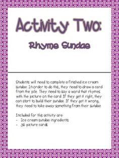 PHONEMIC AWARENESS RHYMING PACKET - TeachersPayTeachers.com