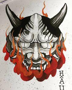 Wolf Tattoos, Skull Tattoos, Leg Tattoos, Hannya Mask Tattoo, Hanya Tattoo, Japanese Drawings, Japanese Tattoo Designs, Hannya Samurai, Japanese Demon Tattoo