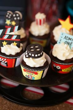 Cupcakes at a movie hollywood red carpet birthday party!