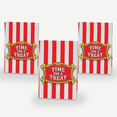 "Big Top Mini Treat Bags With Tape. Perfect for your school carnival or a circus birthday party, these big top mini paper bags come with a tape closure. 51/2"" x 31/2"" x 23/8"" © OTC"