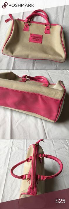 """Victoria's Secret Tan & Pink Satchel Bag Excellent condition! Measures 12 x 7.5 x 5.5."""" Strap drop is 3."""" Victoria's Secret Bags Satchels"""