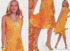 Платье крючком и на вилке из каштановых листьев. Описание, схемы