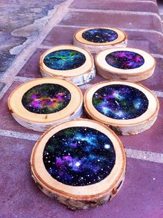 A personal favorite from my Etsy shop https://www.etsy.com/listing/399507473/6-hand-painted-space-galaxy-birch-wood
