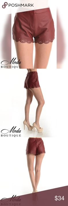 Faux Leather Laser Tip Cut Shorts Faux Leather Laser Tip Cut Shorts Color Burgundy Model wearing a small Material60% Cotton 35% Polyester 5% Spandex Notes: These are quality boutique garments, not something off a Chinese website! They are the same pieces that are resold in popular stores like Nordstrom's, Saks Fifth, and higher end boutiques. Free People Anthropologie Urban Outfitters Madewell Modabyboutique Moda Boutique Moda SF SFmoda wholesale @wholesales boutique clothing A.Peach…