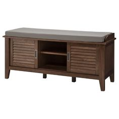 Storage Bench With Slatted Doors Wood   Threshold™ : Target
