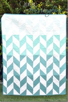 "Amazing ""Ombre Herringbone Quilt"" by Tam for Riley Blake designs. I bet this would look pretty stellar in small-scale solids, too!"