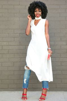 Sleeveless Side Slit Tunic + Distressed Ankle Length Jeans