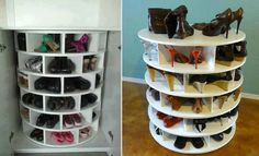 DIY Lazy Susan Shoe Storage! how to make ---> http://diycozyhome.com/lazy-susan-shoe-storage-plans/ Must make this now