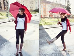 Rainy outfit with plaid wellies, red umbrella and Céline top