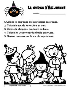 Theme Halloween, Halloween 2015, Halloween Projects, Halloween Decorations, French Teaching Resources, Teaching French, Halloween Worksheets, First Grade Worksheets, French Kids