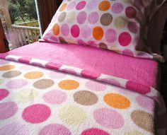 Pink Fleece Bed Set  Toddler / Crib Size Handmade by LazyBugFleece, $140.00