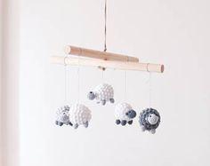 Sheep Mobile . Crochet Amigurumi Baby Mobile . Nursery Decor . Kids Decor