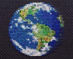 Earth Planet Cross Stitch Pattern PDF Instant by StemStitch