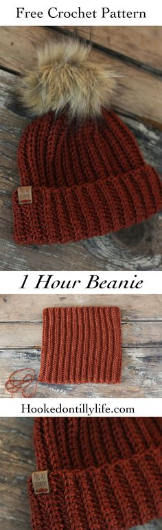free crochet ribbed beanie hat beginner friendly finish in under 1 hour diy hat hooked on tilly pattern, diy, tutorial, how to crochet hat, unisex, mens beanie, baby hat, baby beanie