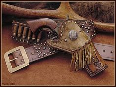 Frontiersman style gun rig from Wild Rose Trading Co Gun Holster, Leather Holster, Western Holsters, Cowboy Gear, Cowboy Baby, Cowboy Action Shooting, Lever Action Rifles, Guns And Ammo, Weapons Guns