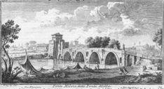 1920 illustration from map. Ponte Milvio, Rome.