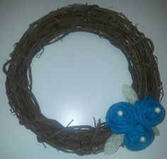 Teal burlap roses with pearls