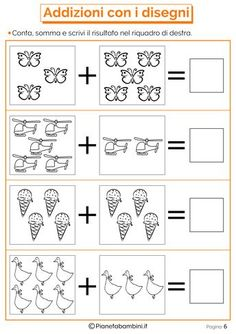 Giochi di Matematica sulle Addizioni per Bambini da Stampare Kindergarten Math Worksheets, Preschool Curriculum, Alphabet Worksheets, Preschool Math, Teaching Math, Mickey Coloring Pages, Addition And Subtraction Practice, Phonics Books, Math For Kids