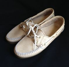 Dexter Boat Shoes Loafer Size 8 M  Beige #359193 Leather Upper Made in the USA  #Dexter #BoatShoes