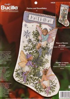 Bucilla Fairies and Snowflakes Counted Cross Stitch Stocking Kit DIY Cross Stitch Christmas Stockings, Cross Stitch Stocking, Xmas Stockings, Felt Christmas Ornaments, Christmas Cross, Cross Stitching, Cross Stitch Embroidery, Cross Stitch Patterns, Counted Cross Stitch Kits
