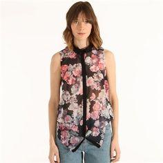 Pimkie.fr : Imprimé floral, transparence : la chemise sans manches mixe les influences.