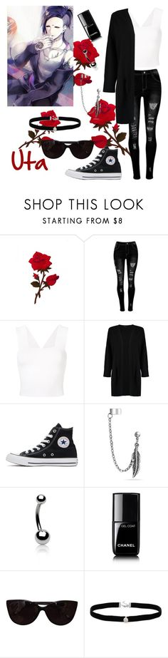 """""""Tokyo Ghoul~Uta"""" by souleater64 ❤ liked on Polyvore featuring A.L.C., Boohoo, Converse, Bling Jewelry, Chanel and Tiffany & Co."""