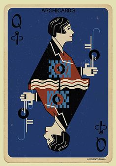 Gallery of Federico Babina's ARCHICARDS Reimagines Architecture's Famous Faces as Playing Cards - 5 Eileen Gray Joker Playing Card, Playing Cards Art, Haus Of Cards, Divination Cards, Eileen Gray, Cool Cards, Deck Of Cards, Illustration Art, Girl Illustrations
