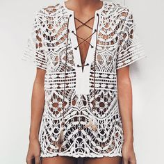 Newest 2017 Summer T Shirt Women Tops Tees Short Sleeve Lace Up V Neck Sexy Lace Crochet Hollow Out Asymmetrical Beach Blusas #Affiliate