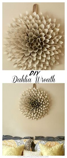 DIY your own dahlia wreath out of book pages. It's the perfect rustic look to any room!