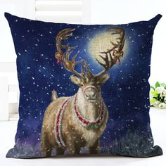 Christmas Reindeer Cushion Cover. 30% proceeds from every purchase goes to animal charities.